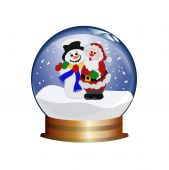 snowglobe with santa claus and snowman