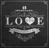 Happy Valentine's Day Hand Lettering - Typographical Background On Blackboard with Chalk