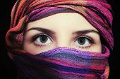 Portrait Of Beautiful Green-eyed Woman In Hijab