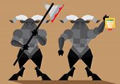 pic of minotaur  - Flat illustration of mythical creature  - JPG