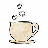 cartoon tea cup with sugar cubes