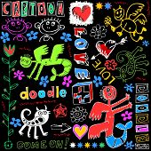 hand drawn design elements, crazy doodle set