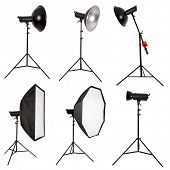 Studio lighting isolated on white background