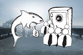 Loan shark and finance doodles against cityscape on the horizon