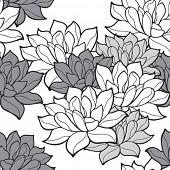 Stylish lotus flowers seamless background