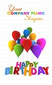 3D rendering of a group of balloons with the words happy birthday hanging from the strings in multicolored shades