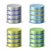 Database icons. Network backup icons