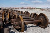 stock photo of train-wheel  - train wheels for metal recycling - JPG