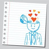 Businessman open headed with hearts (sympathy concept)