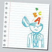 Businessman open headed with letters ( speaking skill concept)