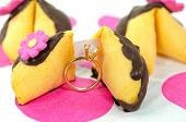 diamond ring with fortune cookies