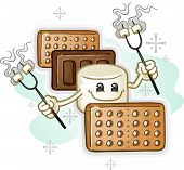 Marshmallow Smores Cartoon Character