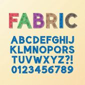 Abstract Fabric Font And Numbers, Eps 10 Vector, Editable For Any Background, No Clipping Mask