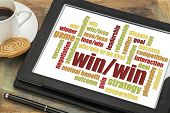 win-win strategy word cloud on a digital tablet with a cup of coffee