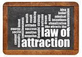 foto of laws-of-attraction  - law of attraction word cloud on a vintage slate blackboard isolated on white - JPG