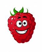 Cartoon raspberry with a cheeky grin
