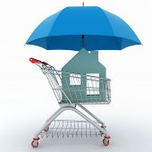Concept of protection of property purchase. 3d illustration of light shopping cart, icon of house and umbrella