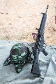 Hk33 Rifle With Military Helmet