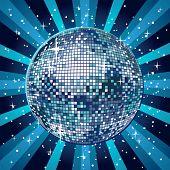 Shiny and blue disco ball