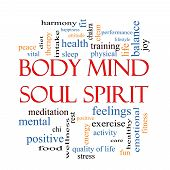 foto of soul  - Body Mind Soul Spirit Word Cloud Concept with great terms such as harmony life sleep fit and more - JPG
