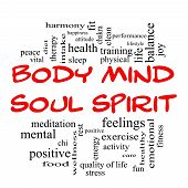 stock photo of spirit  - Body Mind Soul Spirit Word Cloud Concept in red caps with great terms such as harmony life sleep fit and more - JPG