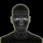 Concept or conceptual 3D wireframe human male head isolated on black background, metaphor to technol