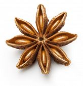 Anise star, badiane spice isolated on white background