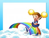 Illustration of an empty template with a cheerer and a rainbow