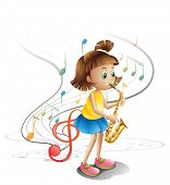 Illustration of a talented child with a saxophone on a white background