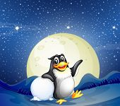 Illustration of a penguin beside the snowball
