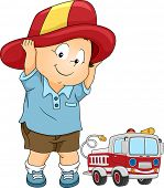 Illustration of a Little Boy Wearing a Fireman Costume