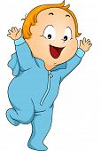 Illustration of a Little Boy Wearing Footie Pajama