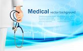Medical background with hand holding a stethoscope. Vector.