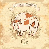 Vintage card with Chinese Zodiac - Ox