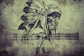 image of indian chief  - Tattoo sketch of American Indian tribal chief warrior - JPG