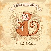Vintage card with Chinese zodiac - Monkey
