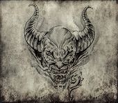 Tattoo art, sketch of a devil over vintage background