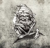 picture of gnome  - Sketch of tattoo art - JPG