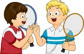 Illustration Featuring a Pair of Tennis Player Doing a High Five