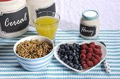 Healthy Diet High Dietary Fiber Breakfast With Bowl Of Bran Cereal And Berries On White Heart Plate