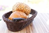 image of home-made bread  - home made bread on wooden board outside cafe - JPG