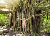Attractive young woman having fun outdoors on hike, standing in front of giant banyan tree.