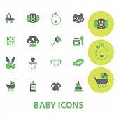 eco baby icons set, vector