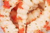 Bunch of cooked unshelled tiger shrimps.