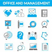 office icons, blue theme
