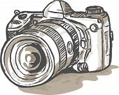 sketch drawing illustration of a digital SLR camera