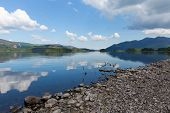 Derwent Water Lake District National Park Cumbria England uk south of Keswick blue sky summer