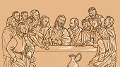 picture of judas  - illustration of the last supper of Jesus Christ the savior and his disciples - JPG