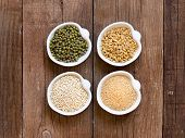 Raw Organic Amaranth And Quinoa Grains, Wheat And Mung Beans