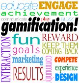 Gamification word background including educate, engage, acheivement, interaction, fun, goal, marketi